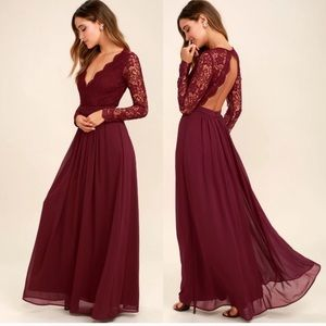 Burgundy Long Sleeve Lace Maxi Dress